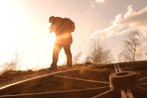vyras, Fotografas, nuotrauka, kamera, pobūdį, saulėlydžio, žmogus, siluetas, ap, žmogus, šešėlis, galva, abendstimmung, apšvietimas, dangus, žygis, debesys, nuotaika, saulė, šviesos, spinduliai, Afterglow, atmosfera, oranžinė, SUNBEAM, kraštovaizdis