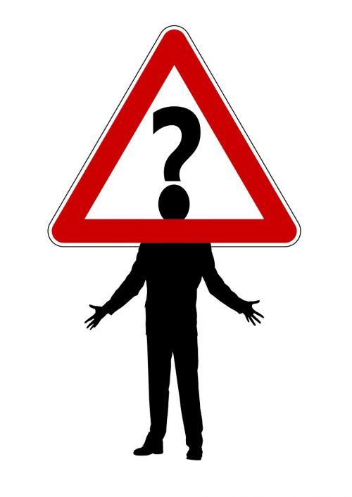 vyras,siluetas,kelio ženklas,įspėjimo trikampis,kelio zenklas,warnschild,dėmesio,Klaustukas,problema,užduotis,prašymas,klausimas,bejėgiškumas,vargšas,skydas,atsakas