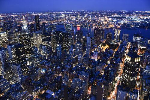 Manhatanas,usa,panorama,ny,miestas,didelis miestas,dangoraižis,vaizdas,didelis obuolys,nyc,dangoraižiai,amerikietis,naktis
