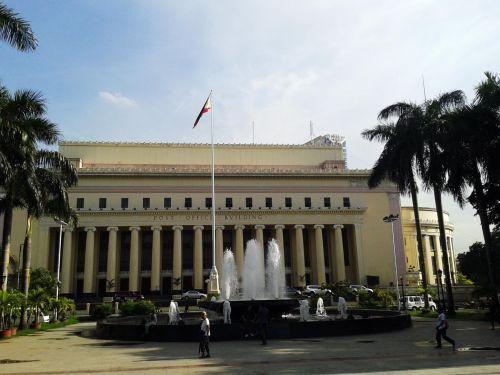 Manila & nbsp, paštu & nbsp, biuras, paštas & nbsp, Manila, Filipinai, vieta, vanduo, vanduo & nbsp, fontanas, žmonės, pastatas, vėliava, Manila pašto skyrius