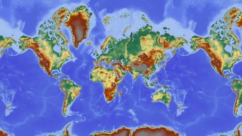 pasaulio žemėlapis,žemėlapis,reljefo žemėlapis,žemė,Šalis,šalys žemė,pasaulio šalyse,didelis reljefas,palengvėjimas,žemynai,aukščio profilis,aukščio struktūra,spalva,kartografija,mercatoriaus projekcija,atspalvis,aukštumos žemėlapis,didelio reljefo žemėlapis,topografija,žemėlapiai nemokamai