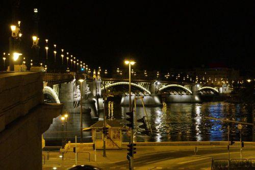 margaret, tiltas, budapest, vengrija, apšviestas, Margaret tiltas Budapeštas