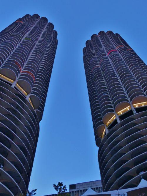 čigonai, il, Illinois, upė, pastatai, takas, vaikščioti, vairuoti, ežeras, Krantas, kranto, aukštas, panorama, dangus, linija, dangoraižis, skreperis, parkas, marina, miestas, marina & nbsp, miestas, marina miestas