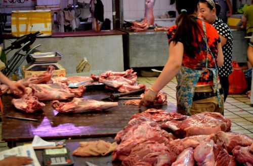 mėsininkas, mėsininkas & nbsp, parduotuvė, turgus, atidaryti & nbsp, rinką, Kinija, mėsa, supjaustyti, apkarpyti, verslas, maistas, apsipirkimas, rinkos mėsininkas