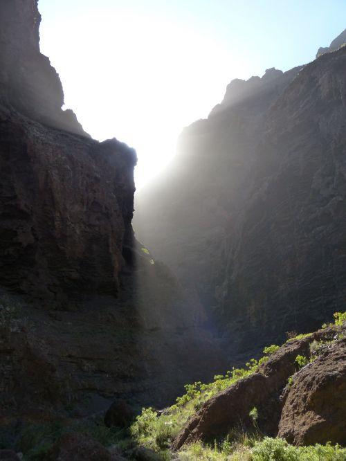 maska ravis,saulė,šviesa,Rokas,Gorge,žygis,Tenerifė,Kanarų salos,kalnai,Teno kalnai