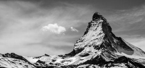 Matterhorn, Šveicarija, Zermatt, Kalnai, Juoda Ir Balta
