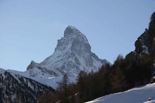 Matterhorn, Žiema, Kalnas, Zermatt, Šveicarija