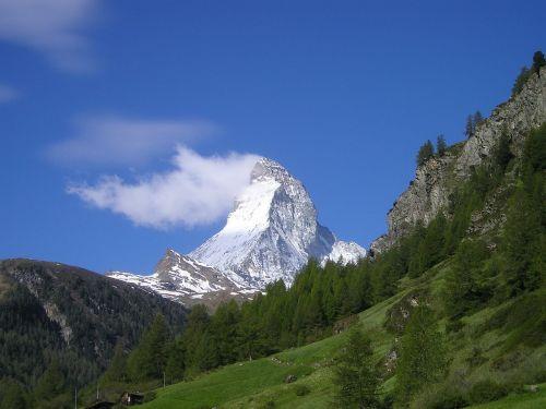 Matterhorn, Zermatt, Kalnai, Alpių, Šveicarija, Sniegas