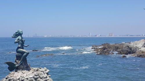 Mazatlan Meksika,undinė statula,undinė skulptūra,jūros dugnas,pakrantė,Turistų kelionės tikslas
