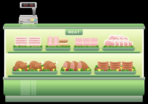 mėsos skaitiklis,prekybos centro lentyna,mėsa,kumpis,kepsnys,Salami,bacon,dešra,vištiena,skalė,Produktai,prekės,Iliustracijos,prekybos centras,mažmeninė,apsipirkimas,prekes