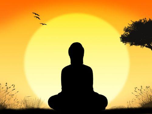 buda, meditacija, saulėtekis, gamta, fonas, atsipalaiduoti, apšvietimas, ramus, taika, laimė, gerovė, religija, meditacija