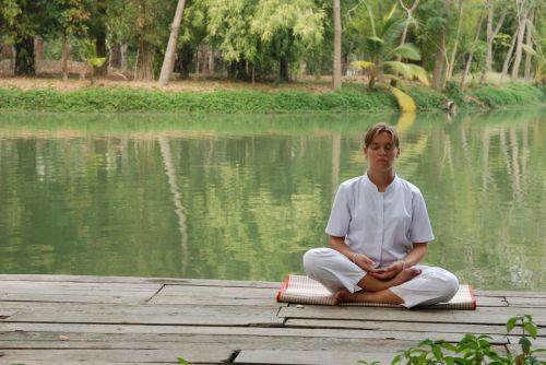 meditacija, ežeras, budistinis, ramybė, koncentracija, taika, vidinis, meditacija ežere
