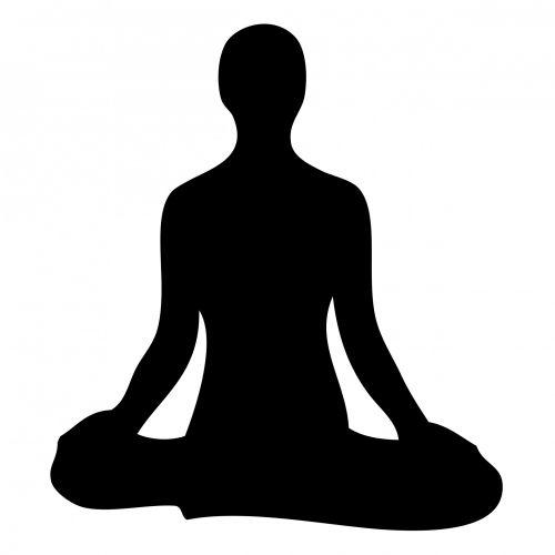 meditacija, medituojantis, juoda, siluetas, moteris, sėdi, atsipalaiduoti, gerai & nbsp, yra, kryžminė & nbsp, kojos, kontūrai, figūra, meditacija