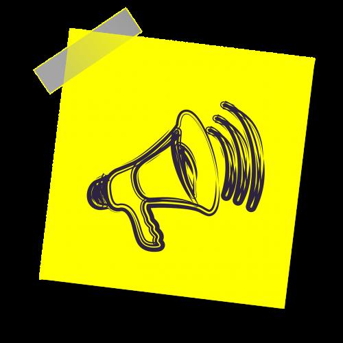 megaphone,balsas,garsiakalbis,pranešimas,skelbimas,visuomenė,garsas,skelbimas,kalba,garsiakalbis,piktograma,geltona lipdukė,pastaba,rašyti pastabą
