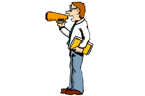 megaphone, kalbėti, garsiai, vyras, mokytojas, lyderis, garsiakalbis, diktorius, skelbimas, montavimas, animacinis filmas, piešimas, nemokami brėžiniai, be honoraro mokesčio, be honoraro mokesčio