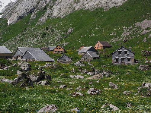meglisalp,Bergdorf,namai,alm,Alpių kaimas,appenzell,vidausrhoden,Alpsteino regionas,Kelionės tikslas,bažnyčia,koplyčia,migracijos tikslas,Sakntis regionas