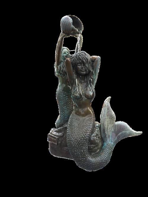 undinė, undinė statula, bronzos undinė, statula, paminklas, lauke, vanduo, be honoraro mokesčio