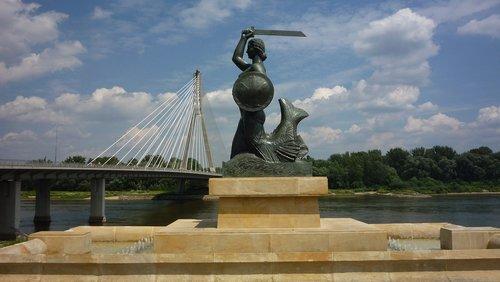 undinė, CIALIS, Varšuva, tiltas, statula, fontanas, simbolis, Varšuvoje undinė, Lenkija, turizmas