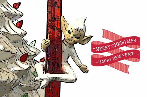 Kalėdos, xmas, Elfas, elfai, raudona, pasveikinimas, šventė, sezoninis, linksmas Kalėdų elfas