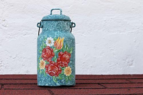 pieno gali,dažymas,ornamentas,apdaila,puodą,dažytos,valstiečių menas,deko,valstiečių tapyba,bavarija,laivas,metalinis indas,menas,dekoravimo dirbiniai,gėlės