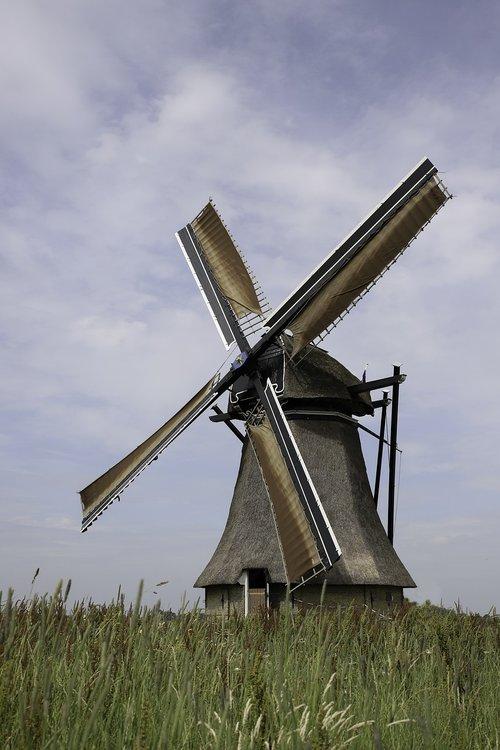 malūnas, vandens malūnas, Nyderlandai, Fryzija, Olandų malūnas, kraštovaizdis, vėjo malūnas, malimo peiliai, dagčiai, mediniai dagčiai, Istorinis malūnas, vėjo energija