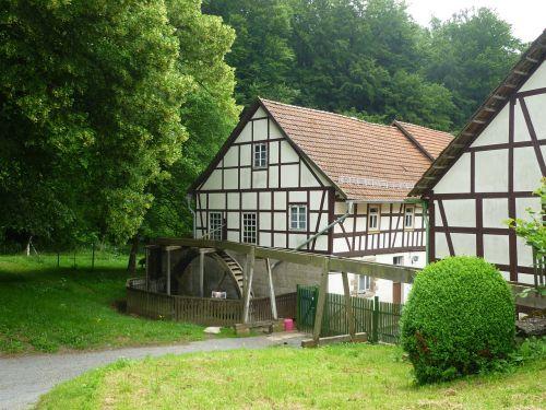 malūnas,viršutinis malūnas,santūra,mühlbach,nostalgija,senas,namai,miškas,vasara,medžiai,gamta,fachwerkhaus,viršutinis kanalas,miško kraštas