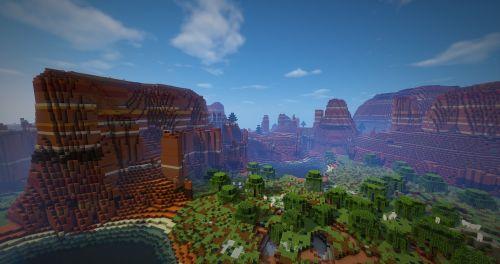 Minecraft,tapetai,fonas,fono paveikslėlis,mesa,biom,molis,spalvotas molis,fonas,dykuma,dangus,shader,minecraftshader,minecraftmod,modai,debesys,saulė,rytas,medžiai,vanduo,kraštovaizdis