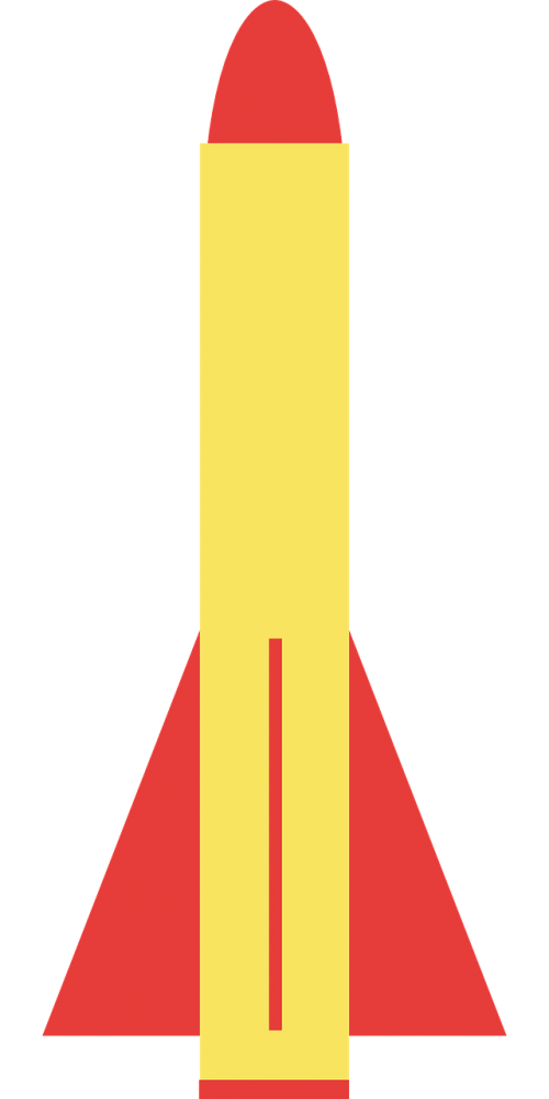 Raketa, Raketa, Ginklas, Paprastas, Geltona, Raudona, Nemokama Vektorinė Grafika