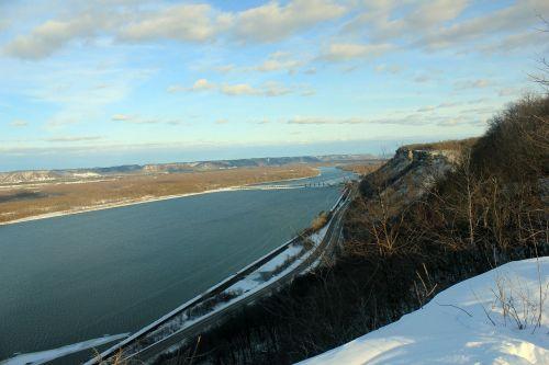 Misisipi upė,blefas,kraštovaizdis,vaizdingas,upė,Misisipė,sniegas