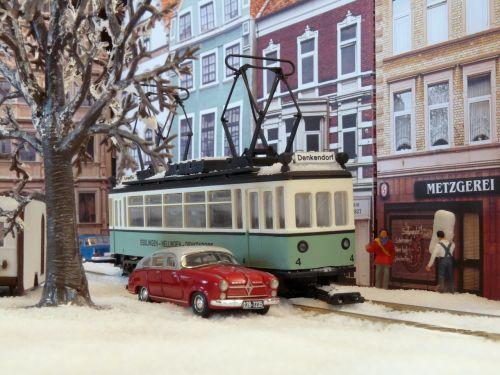 modelio traukinys,modelio geležinkelis,tramvajus,masto h0,dioramas,Esslingen,denkendorf,galas,žiema,modelis automobilis