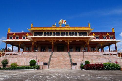 vienuolynas,gaden jangtse,pastatas,architektūra,tibetietis,atsiskaitymas,budizmas,religija,religinis,mundgod,Karnataka,Indija