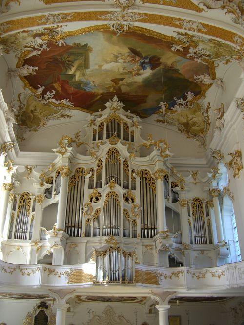 vienuolyno bažnyčia,roggenburg,swabia,bavarija,organas,galerija