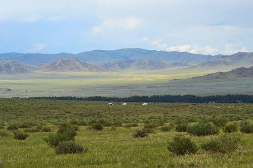 Mongolija,stepė,Jurtai,altas