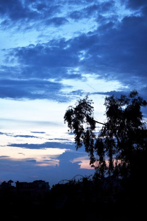 vakaras, naktis, tamsi, saulėlydis, debesys, dangus, gamta, musoninis vakaras