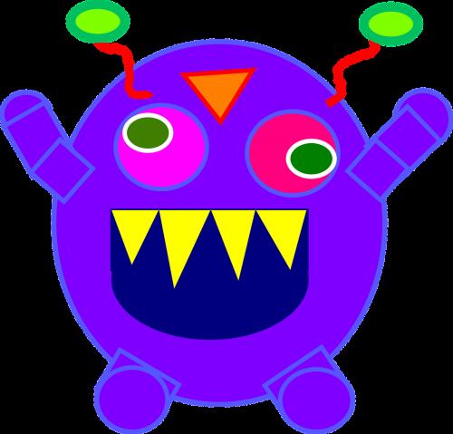 monstras,rėkti,aštrus,dantys,violetinė,auginimas,įkrovimas,antena,geltona,žalias,ataka,kryžiaus akimis,trikampis,rankos,pakeltas,užsienietis,apvalus,ratas,padaras,nemokama vektorinė grafika