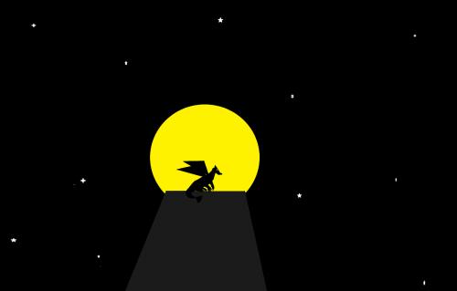 mėnulis ir drakonas,drakonas,dangaus drakonas,vėjo drakonas,sparnuotas drakonas,drakonas naktį,drakonas ant mesa,magija,fantazija,fikcija,drakonas šešėlis