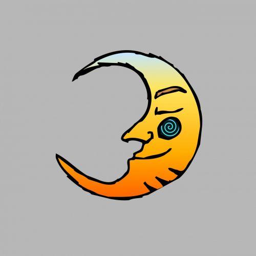 mėnulis, animacinis filmas, piešimas, karikatūra, gradientas, spalva, geltona, sidabras, fonas, mėnulio animacinis filmas