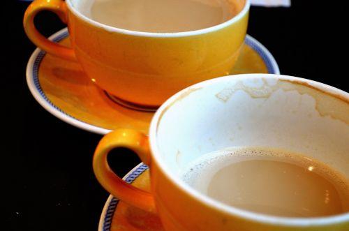 kava, puodelis, puodukai, oranžinė, tuščia, pilnas, kofeinas, energija, ritualas, fonas, pusryčiai, makro, ryto kava