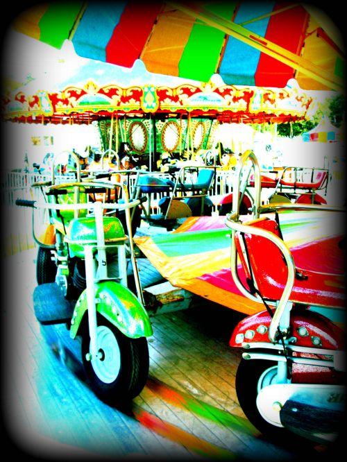 motociklas, važiuoti, šviesus, karnavalas, šviesus, apvalus, judėjimas, spalvinga, motociklų važiavimas