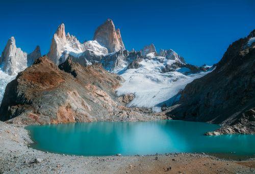 montuoti fitzroy,patagonia,kalnas,ledynas,ežeras,vanduo,sniegas,ledas,turizmas,kraštovaizdis,gamta,lauke,kaimas,smailės,argentina