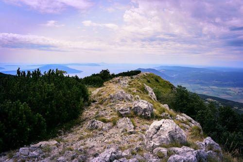 kalnas,vaizdas,panorama,dangus,kroatija,saulė,Alpių,mėlynas dangus,dengtas dangus,vasara,perspektyva,šviesa