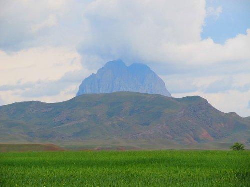 kalnų, kraštovaizdis, kelionė, dangus, pobūdį, panoraminis, debesis, slėnis, žolė, Taylor, vasara, horizontali, plotas, medis, naxcivan, Azerbaidžanas