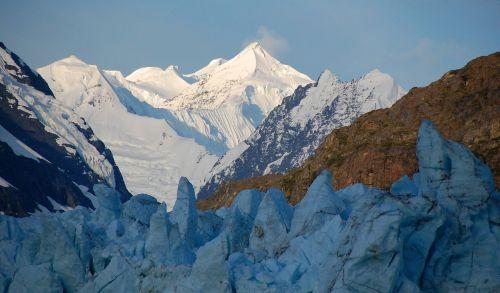kalnų viršūnės,saulėtekis,fairweather range,Margerie ledynas,ledynas,Nacionalinis parkas,alaska,usa,šaltas,rytas,sušaldyta,geologija,ledas,sniegas,tidewater ledynas,dykuma,senovės,tvirtas