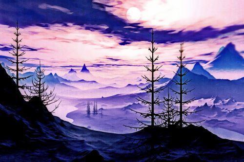 kalvos, kalnas, reljefas, slėnis, šviesa, kraštovaizdis, poveikis, meno, miškas, rūkas, migla, medžiai, dangus, debesys, dažyti, kalnų slėnis