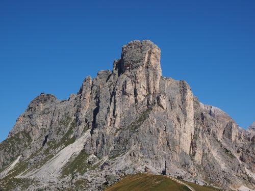Kalnai, Kalnų Grupė, Monte Nuvolau, Monte Gusela, Ampezzo Dolomitai, Dolomitai, Italy, South Tyrol, Passo Di Giau, Monte Gusella