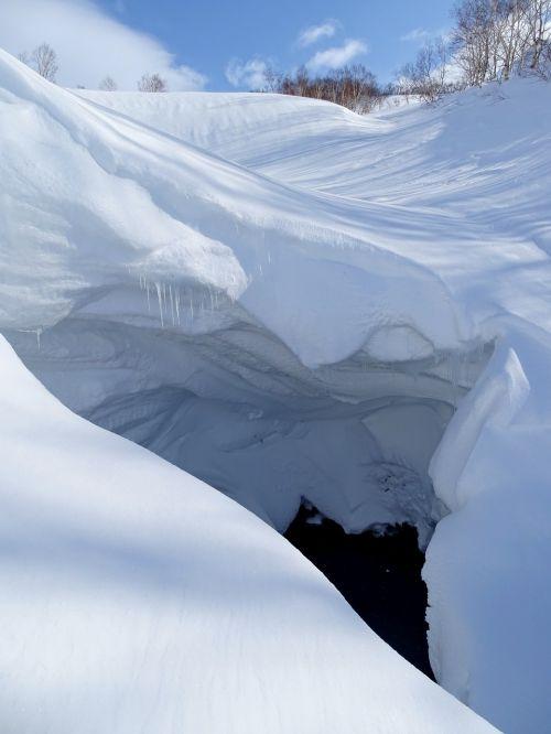 kalnai, mažoji upė, sniego urvas, grota, Yama, piltuvėlis, žiema, šaltis, šaltas, sniegas, snowdrift, Нанос, sniego karnizas, gamta, kraštovaizdis, pavojus, be honoraro mokesčio