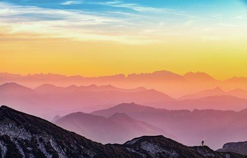 kalnai, kraštovaizdis, siluetas, saulėlydžio, pobūdį, Alpine, debesys, vaizdingas, spalvinga, spalvų paletė, Austrija, žygiai, žmogus, žmogus
