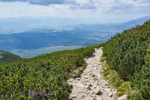 kalnai, kalvos, pobūdį, akmenys, Kriváň, dangus, debesys, Slovakija, Hill, Top, nuo viršaus, Panorama, Šalis, takas, kelias, vaizdas