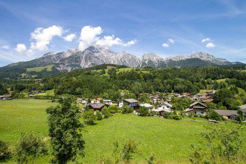 kalnai,salzburg,Bergdorf,kaimas,namai,debesys,laisvė,kraštovaizdis,aukščiausiojo lygio susitikimas,viršūnių susitikimas,Leogang kalnai,kalnų,šiaurinis kalkalpen,Rytų Alpės,salzburg regionai,akmeniniai kalnai,leogang