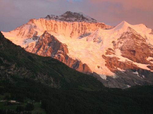 kalnai alpengluehn,įtraukti virgin alps,Šveicarija